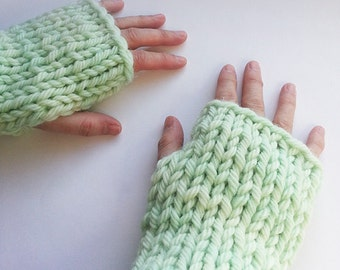 SALE - Hand Knitted Fingerless Mittens in Super Chunky Wool, Chunky Knit Mittens, Chunky Knitted Fingerless Gloves, Fingerless Mittens,
