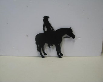 Horse Riding 001 Western Metal Art Silhouette