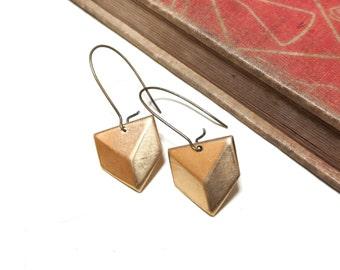 Raw Brass Geometric Earrings - Modern Drop - Pyramid - Dangle - Long - Kidney Earwire - Ear wire - minimalistic