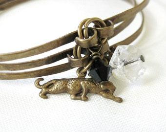 Handmade Brass Charm Bangle Set Antiqued 3 Stacking Bracelet Set Black Swarovski Crystal Clear Faceted Glass and Leopard Cat Charm Dangles