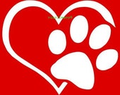 Heart and Dog Paw I Love My Dog Vinyl Car Decal Window Sticker Decal Sticker Sign
