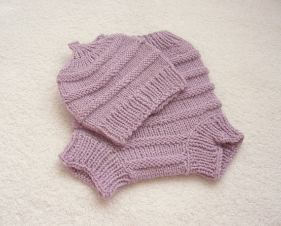 Hand Knitted Wool Diaper Cover with matching Hat Baby Diaper Cover Wool Baby Soaker Cloth diaper size Small Nb-6 months