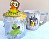 Vintage Owl Sugar and Creamer Set Cute Woodland