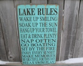 Lake rules sign CUSTOM, 14x24 cabin decor custom to your happy place Cabin rules, river rules, up north sign rustic and primitive