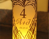Luminary Centerpiece  Monogram wood birch Luminary Centerpiece - 8.5 inch - great for table Number Wedding Reception 10 pack