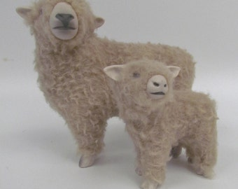Babydoll Southdown Ewe Figurine with Lamb, Porcelain and Wool