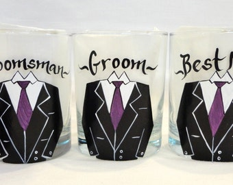 Hand Painted Personalized Groomsman Scotch Glasses - CUSTOM TUX STYLE and Color - Groomsman Gifts