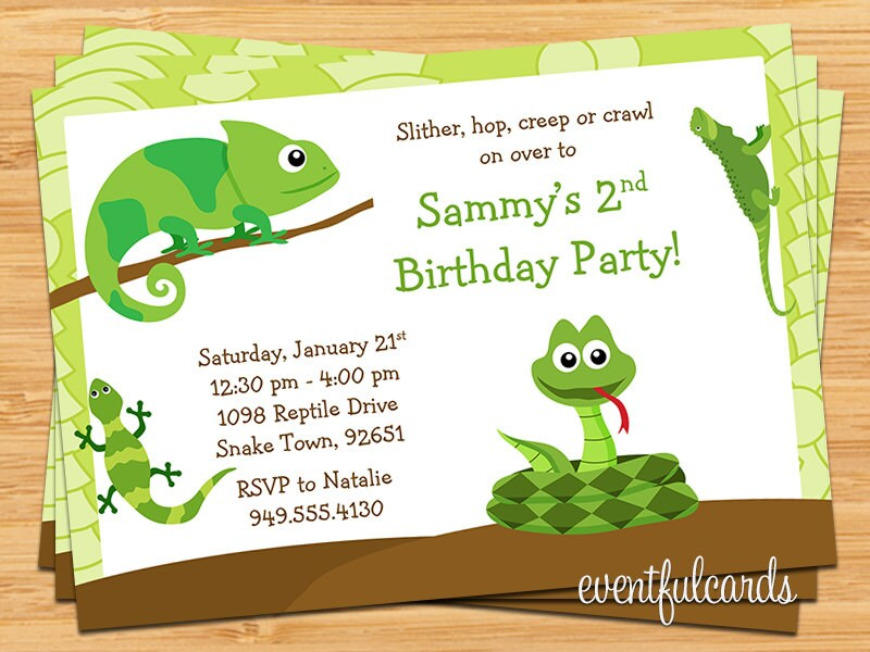 Reptile Birthday Party Invitation