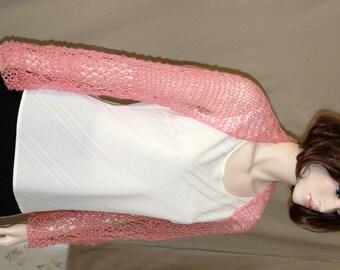Knit  Womens Shrug     Pink Mohair Shrug Knit  Lace Shrug  Womens Mohair Pink Cardigan Cover Up   Elegant Bridal  Wedding Shrug