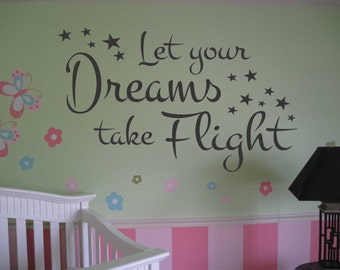 Dreams take Flight Script, Vinyl Wall Lettering, Vinyl Wall Decals, Vinyl Letters, Vinyl Lettering, Wall Quotes, Nursery Decal, Kids Room