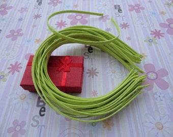 18pc yellow green/lime green color satin covered metal headband with bent end thin 5mm