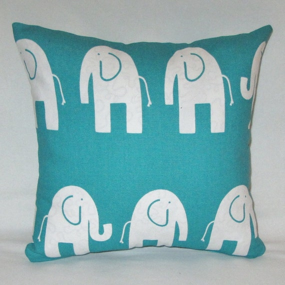 Items similar to Elephant pillow cover, animal print, 6 colors, nursery pillows, green, yellow ...