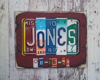License Plate sign art - wedding anniversary gift for him man husband aluminum tin gift 10th anniversary gift Salvaged Wood