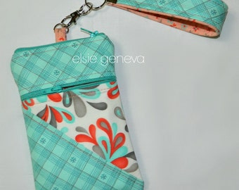 Made to Order Aqua Teal  Plaid Floral Orange Peach Grey Swirls Phone iPhone 5 6 Plus Note Case Zipper Closure and Wristlet Hearts Birds Red