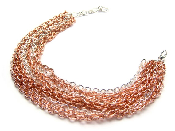 Rose Gold Bracelet - Multi Chain Bracelet - Modern Chunky Copper Bracelet - Chained Up