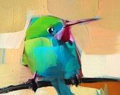 Tody Bird no. 17 Bird Art Print by Angela Moulton 4 x 4 inches  prattcreekart