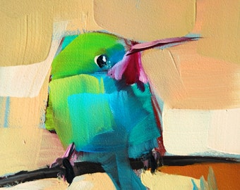 Tody Bird no. 17 Bird Art Print by Angela Moulton 4 x 4 inches  prattcreekart