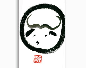 Ox Year of the Ox, Chinese Zodiac Original Zen Sumi ink Painting, oxhearding pictures, japanese zen painting, zen decor