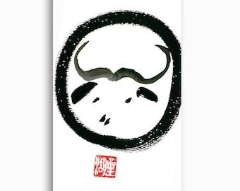 Ox Year of the Ox, Chinese Zodiac Original Zen Sumi ink Painting, oxhearding pictures, japanese zen painting, zen decor, enso zen circle