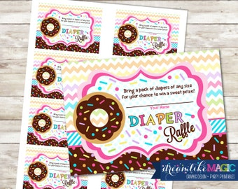 Baby Shower Diaper Raffle Cards for Sprinkled with Love Pink Donut, Printable PDF Diaper Raffle Ticket, INSTANT DOWNLOAD