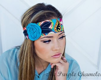 Pizazz Head Wrap in Turquoise, Black, White, Red, Purple Lime Green, and Fuschia, Deep Orange Headband Tie on Headband Gifts for Her
