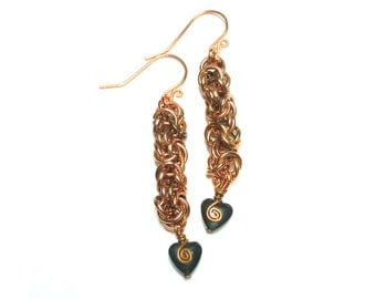Ready To Ship  Byzantine Chainmaille Earrings in Copper with 6m Hematite Heart  Accent with Spiral