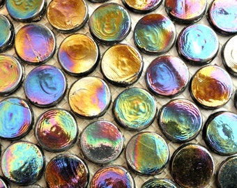 "20mm Black Penny Round Iridescent Glass Mosaic Tiles 3/4""// Round Glass Tiles//Mosaic Supplies//Mosaic//Crafts"