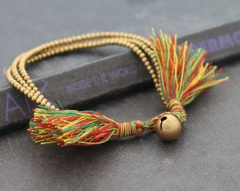 Rasta Tassel Brass 3 Strand Bracelet