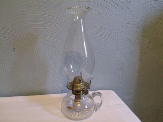 Antique oil lamp hurricane finger holder by for Wooden kerosene lamp holder