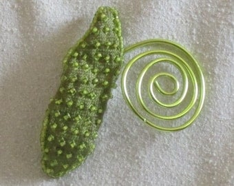 Handmade Hand Beaded Silk Leaf with Wire Spiral