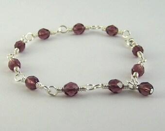 February Birthstone Bracelet Amethyst Purple