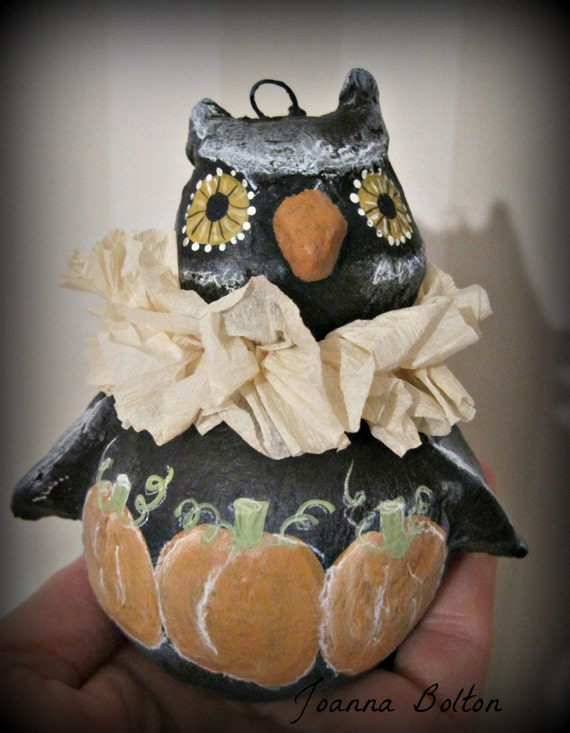 Halloween Owl doll ornament - papier mache- vintage style- art doll- Halloween