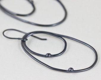 Oval Hoop Earrings, Modern Large Black Sterling Silver Earrings, Contemporary Statement Sleek Double Oval Hoop Earrings - Evan Earrings