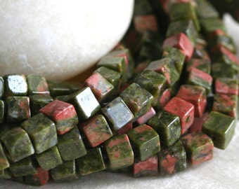 4mm Gemstone Cube Beads - Jewelry Making Supplies - Square Spacer Bead - Unakite Cube (~50 beads)