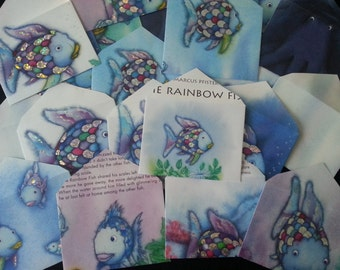 Rainbow Fish Upcycled Envelopes
