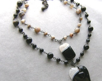 Brazilian Black Banded Agate with Druzy Heart Necklace-Chiaoscuro-White and Black Agate, Blackened Brass