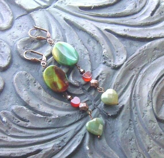 Fancy agate and carnelian heart gemstone earrings with fancy jasper -Facets of Love -Green, Orange on Copper