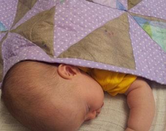 Customized Baby Quilt Handmade Gift, Pinwheel Pattern