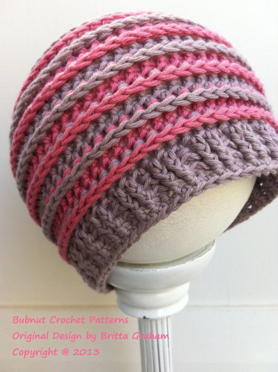 Crochet Ribbed Hat : Ribbed Beanie - crochet hat pattern P306 using DK weight (US Light/3 ...