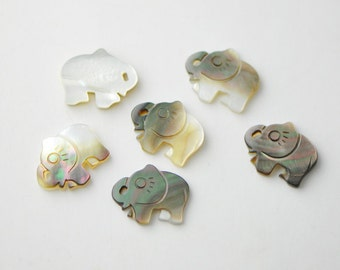 Black Mother of Pearl Flower Elephant -V1120/ 10pcs