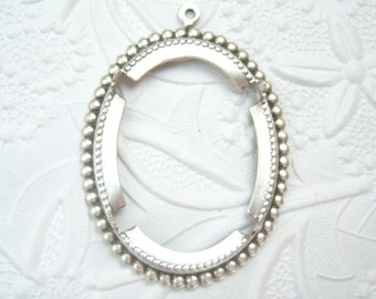 Antiqued silver plated brass 40x30mm beaded edge setting - DU167
