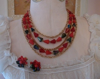 Vintage Multi Strand Necklace with Matching Earrings from Germany