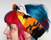 SALE - Halloween Reversible Wired Bow Headband, Bats with Glow in the Dark - Christmas In July CIJ