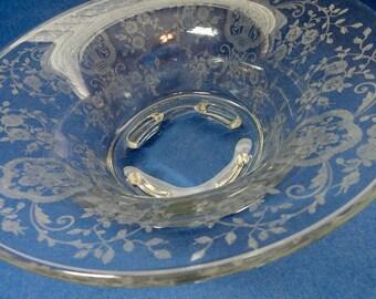 Vintage Etched Glass Footed Bowl Baskets and Roses// Vintage Serveware// Vintage Glass Bride's Bowl/ Vintage Glass Bowl