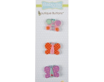 Butterflies Buttons - 3 pieces per card - Sweet Stuff Collection ~ from Babyville Boutique