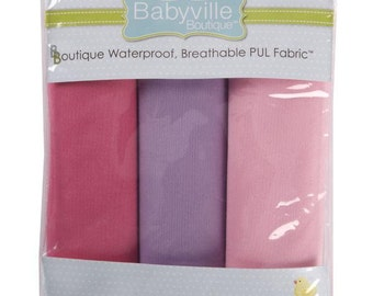 """PUL GIRLS Pink and Lavendar ~ Solid Colors - Babyville Boutique PUL packaged fabric - 3 pre-cut 21"""" x 24"""" pieces per pack"""