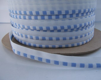 10 Yards Checked Cornflower Blue & White Piping Trim, Approximately 100 yards available NEW