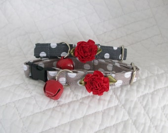 Cat Collar Grey and white polka dot with shabby chic  red flower and bell   Breakaway Collar Custom Made