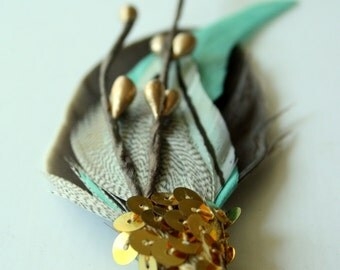 MOJAVE Boutonniere in Chestnut Brown, Aqua, and Black and White Stripe with Bronze Berries and Gold Sequin Wrap