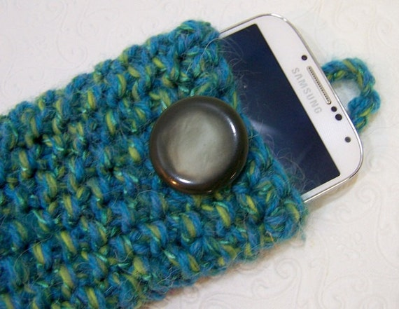 Teal Green Knit IPhone Case, Knit Smartphone Cozy, Knit Phone Sock, Knit IPhone Case, Teal Green, Spring Green Knit, Chunky Knit Phone Case